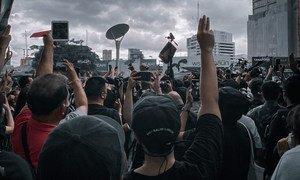 泰国曼谷的街道上进行的示威活动。