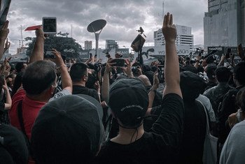 A demonstration takes place on the streets of Bangkok, Thailand.