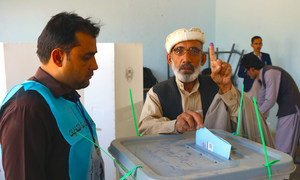 Afghans gather to vote in the presidential election at polling stations in Paktya, the capital city of Gardez province in the southeastern region. (Septermber 2019)