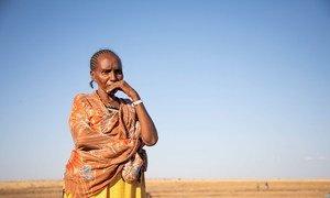 来自提格雷的一名埃塞俄比亚难妇女民正在等待从边境接待中心被转移至苏丹。
