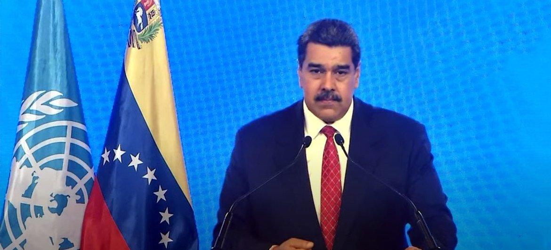 El presidente de Venezuela, Nicolás Maduro, se dirige a la Asamblea General durante la reunión de alto nivel del 76 periodo de sesiones.