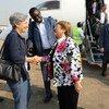 La Haut-Commissaire des Nations Unies aux droits de l'homme, Michelle Bachelet, à son arrivée jeudi à Bunia, la capitale de la province de l'Ituri, dans le nord-est de la République démocratique du Congo (RDC)