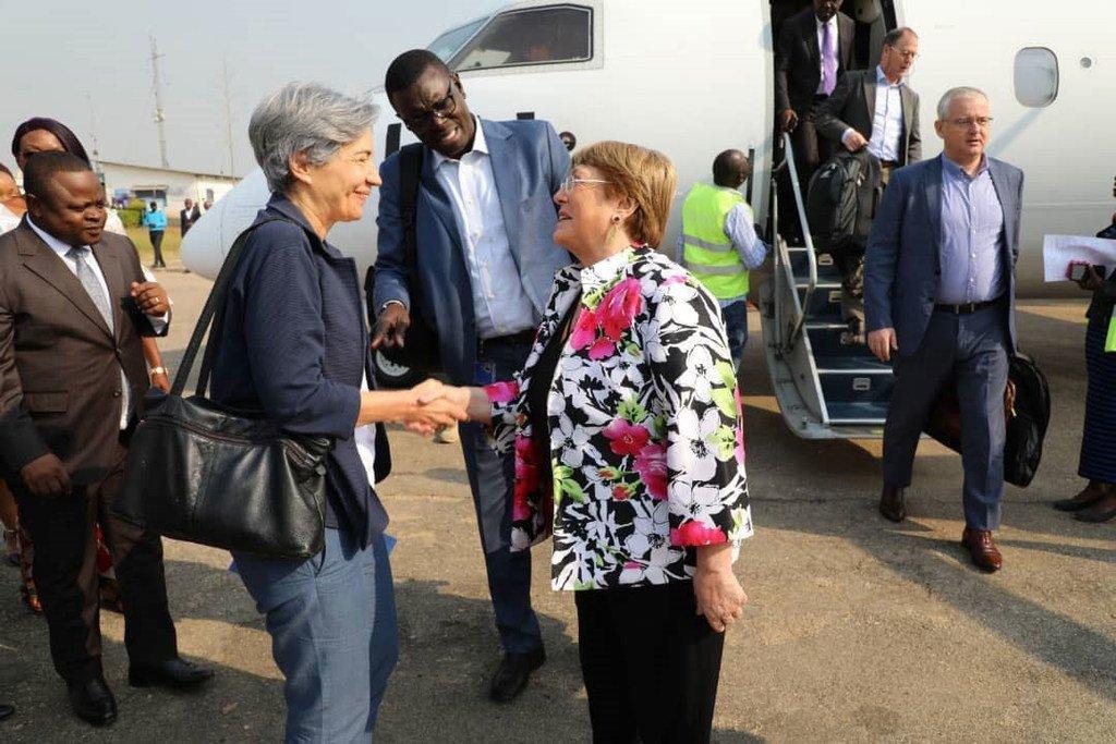 Kamishina Mkuu wa Haki za binadamu Michelle Bachelet alipowasili jimboni Ituri katika eneo la  Bunia nchini DR Congo ambako anashiriki mkutano wa usalama