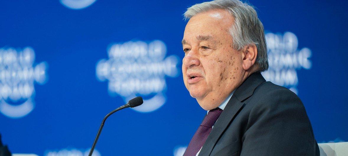 El Secretario General de las Naciones Unidas, António Guterres, se dirige a la Reunión Anual del Foro Económico Mundial 2020 en Davos, Suiza.