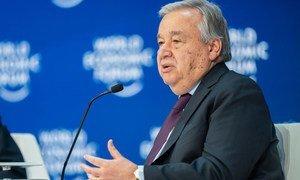 UN Secretary-General António Guterres addresses the World Economic Forum Annual Meeting 2020 in Davos-Klosters, Switzerland.