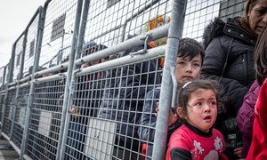 Women and children at the the Turkey-Greece border at Pazarkule.