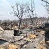 Les restes carbonisés des abris et des biens des réfugiés rohingyas après un incendie dévastateur qui a ravagé le camp de réfugiés de Kutupalong le 22 mars.