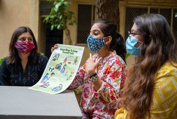 Young women in India discuss gender-based violence.
