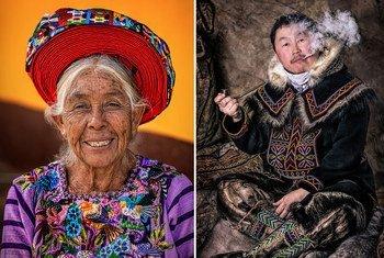 Des adultes (de gauche à droite) du fleuve Omo, en Éthiopie, du lac Atitlán, au Guatemala, et de la péninsule de Taimyr, en Russie, figurent dans une récente exposition de photos.