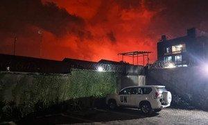 Anga la mji wa Goma jimboni Kivu Kaskazini nchini DRC liligeuka jekundu baada ya volkano katika mlima Nyiragongo kulipuka taree 22 mwezi  mei mwaka 2021