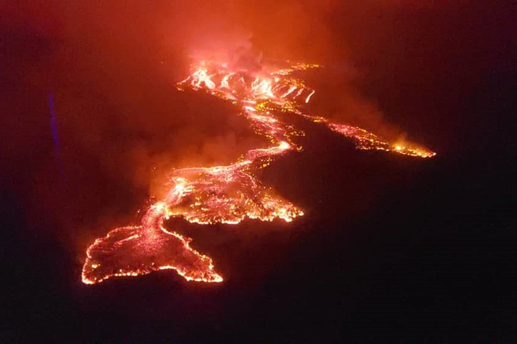 Lava from the Mount Nyiragongo volcano flows towards the city of Goma in the eastern Democratic Republic of the Congo.