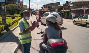 Health workers in Madagascar remind citizens to stay safe during the COVID-19 pandemic.
