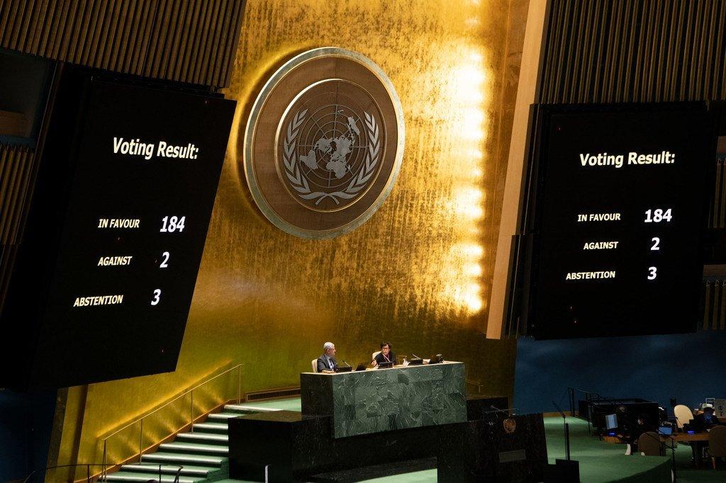 联合国大会就美国有必要停止对古巴的禁运进行投票。