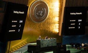 الجمعية العامة تصوت على أهمية إنهاء الحظر الاقتصادي والمالي والتجاري الذي تفرضه الولايات المتحدة على كوبا.