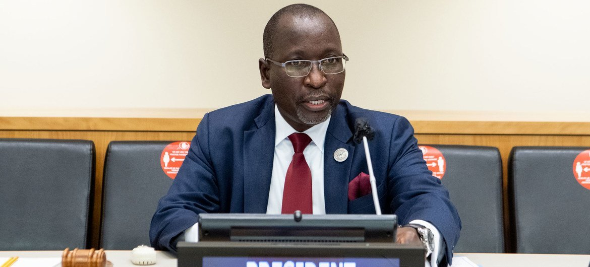 Ambassador Collen Vixen Kelapile of Botswana delivers his inaugural speech to the Economic and Social Council (ECOSOC) as its President.