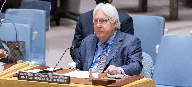 Martin Griffiths, chef de l'humanitaire de l'ONU, devant le Conseil de sécurité.