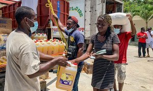 Food is distributed to 3,000 people in Camp Perrin, one of the areas in the south of Haiti that was affected by the earthquake.