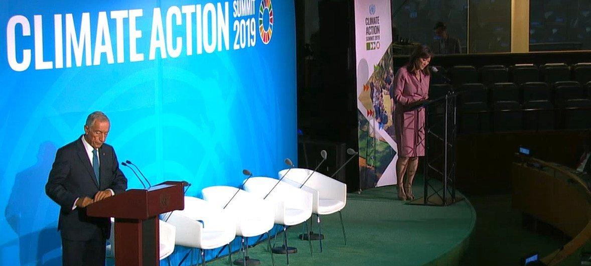O presidente de Portugal, Marcelo Rebelo de Sousa discursou no Encontro de Cúpula sobre Ação Climática, que acontece na sede da ONU.