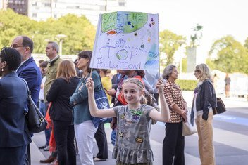 UN staff and their families gather at UN Headquarters in New York in support of the youth-led global climate strike.
