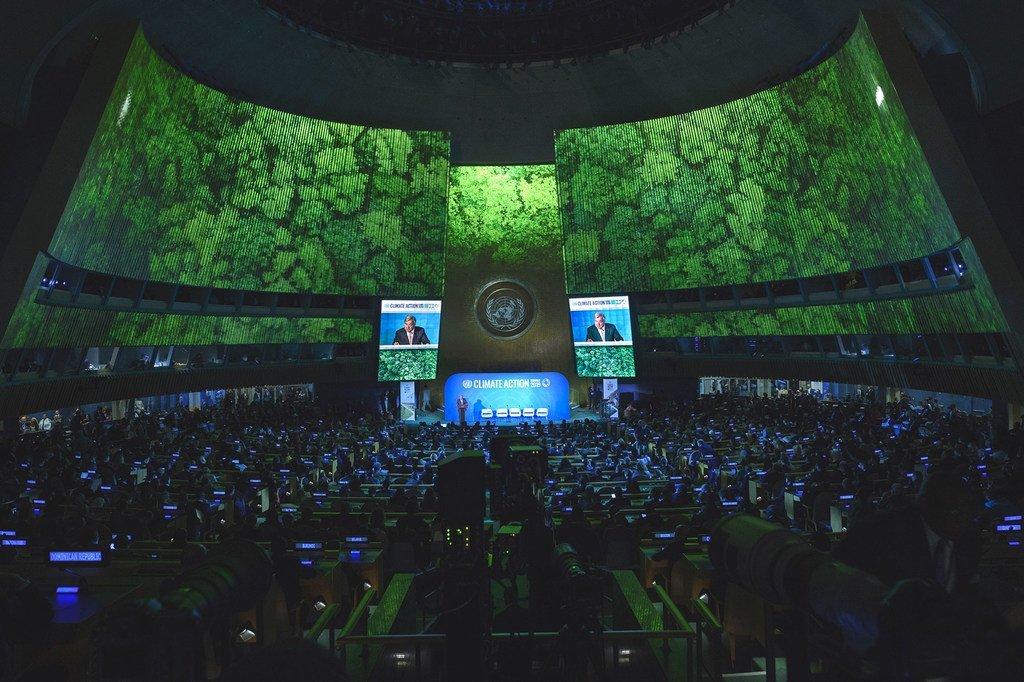 Vue d'ensemble de la salle de l'Assemblée générale des Nations Unies lors de l'ouverture du Sommet Action Climat de l'ONU le 23 septembre 2019