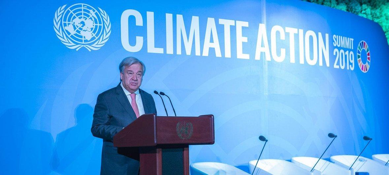 El Secretario General, António Guterres, en la ceremonia de inauguración de la Cumbre sobre la Acción Climática.
