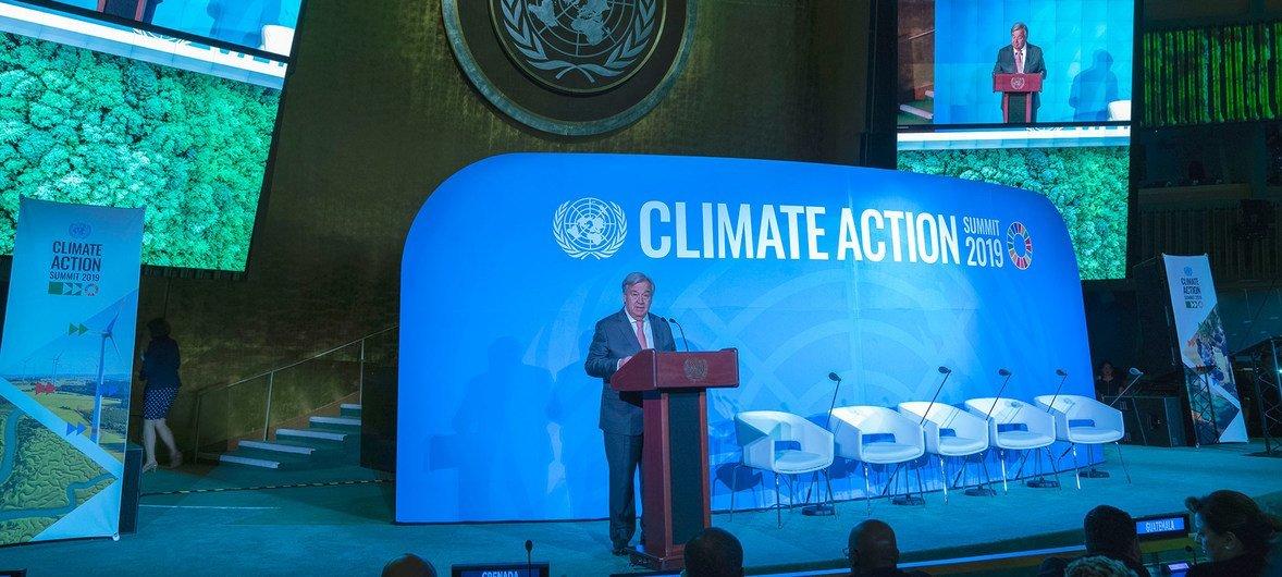 El Secretario General de las Naciones Unidas, António Guterres, en la ceremonia de apertura de la Cumbre sobre Acción Climática el 23 de septiembre de 2019.
