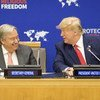 Secretary-General António Guterres and Donald Trump, President of the United States of America, attend the Global Call to Protect Religious Freedom briefing. (23 September 2019)