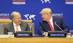 O secretário-geral António Guterres e Donald Trump, presidente dos Estados Unidos, participam de evento sobre liberdade religiosa na sede da ONU.