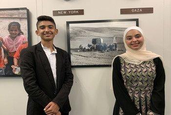 إسلام برقان وحذيفة أحمد ممثلا برلمان الأونروا الطلابي في اجتماعات الجمعية العام للأمم المتحدة في دورتها الرابعة والسبعين.