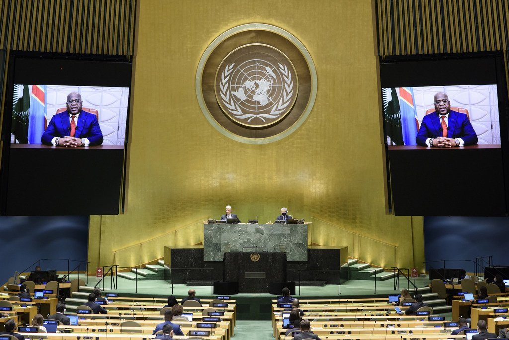 President Félix Antoine Tshilombo Tshisekedi (on screen) of Democratic Republic of the Congo addresses the general debate of the General Assembly's seventy-fifth session.