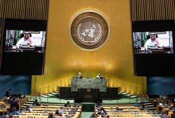 الملك سلمان بن عبدالعزيز خلال مخاطبته الدورة الـ75 للجمعية العامة من خلال كلمة مسجلة مسبقا.
