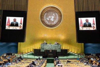 O presidente de Moçambique Filipe Jacinto Nyusi no debate geral da Assembleia Geral.