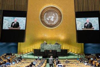 伊拉克总统萨利赫在联合国大会第75届会议上发表视频讲话。