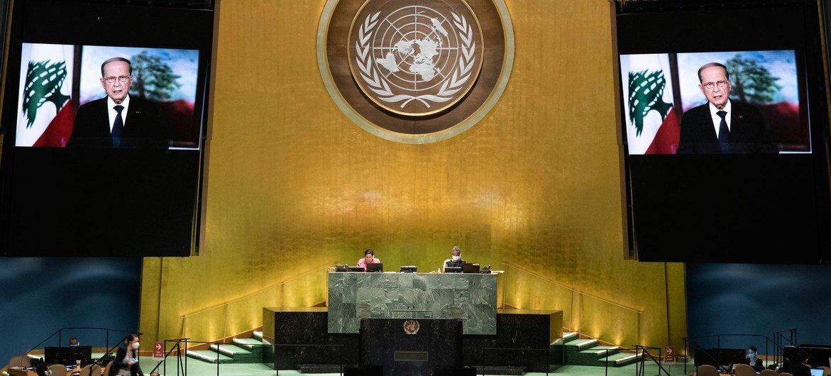 黎巴嫩总统奥恩在联合国大会第75届会议上发表视频讲话。