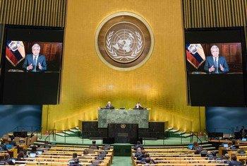 El presidente de Ecuador, Lenin Moreno Garcés  se dirige a la Asamblea General en un mensaje en vídeo.