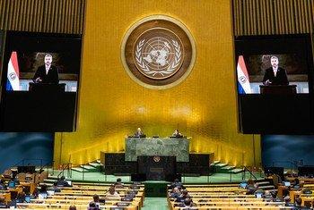 El presidente de Paraguay, Mario Abdo Benítez, se dirige a la Asamblea General en un mensaje en vídeo.