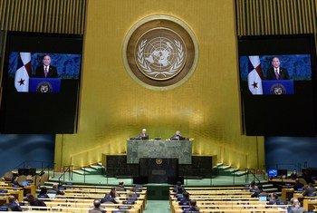 El presidente de Panamá, Laurentino Cortizo, se dirige a la Asamblea General en un mensaje en vídeo.