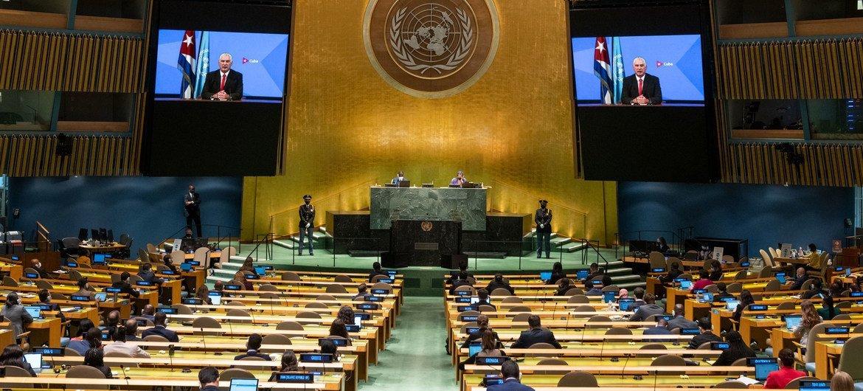 Президент Кубы Мигель Диас-Канель Бермудес выступил в ходе общеполитической дискуссии 76-й сессии Генеральной Ассамблеи ООН.