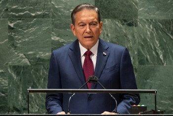 El presidente de Panamá, Laurentino Cortizo Cohen, interviene en el debate general del 76º período de sesiones de la Asamblea General de la ONU