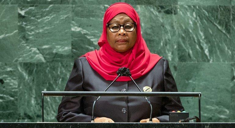 Rais Samia Suluhu Hassan wa Tanzania akihutubia mjadala mkuu wa mkutano wa 76 wa Baraza Kuu la Umoja wa Mataifa jijini New York, Marekani 23 09 2021