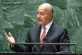 伊拉克总统萨利赫在联合国大会第76届会议上发表讲话。