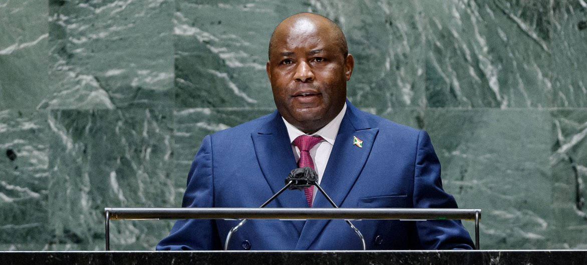 President Evariste Ndayishimiye of Burundi addresses the general debate of the UN General Assembly's 76th session.