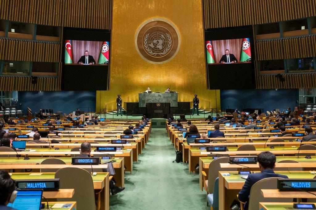 Президент Азербайджана Ильхам Алиев выступил в ходе общеполитической дискуссии 76-й сессии Генеральной Ассамблеи ООН.