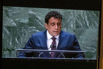 رئيس المجلس الرئاسي في حكومة الوحدة الوطنية الليبية، السيد محمد يونس المنفي خلال تقديم خطاب بلاده، في مداولات الدورة السادسة والسبعين امام الجمعية العامة للأمم المتحدة.