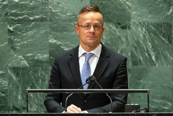 Péter Szijjártó, Minister of Foreign Affairs and Trade of Hungary, addresses the general debate of the UN General Assembly's 76th session.
