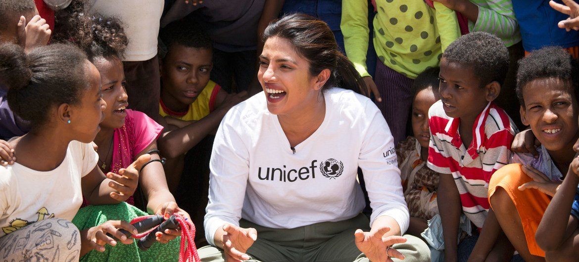 UNICEF Goodwill Ambassador Priyanka Chopra Jonas watches a football game between Eritrean refugee children and children from Ethiopia in the country's Hitsats refugee camp.