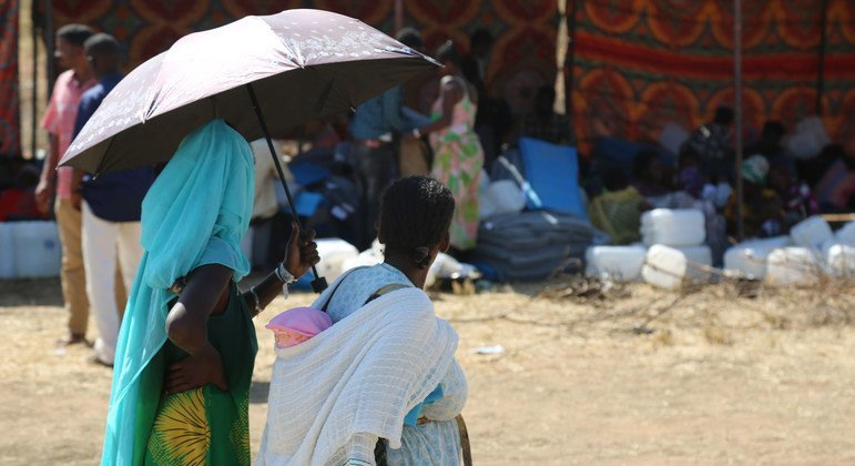 The majority of refugees in Um Raquba are women and children.