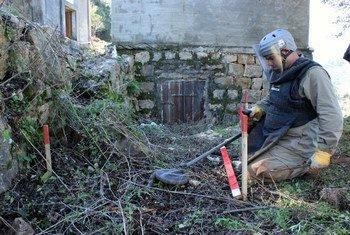 عملية إزالة الألغام الأرضية في لبنان.