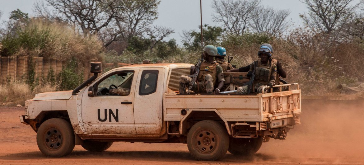 UN peacekeepers patrol the town of Bambari in the Central African Republic. (file)