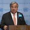 Le Secrétaire général de l'ONU, António Guterres, s'adresse à la presse au siège des Nations Unies (photo d'archives).